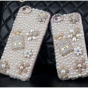 Dower Me Diamond Pearl Flower Perfume Bottle Case For Iphone 7 6 Plus 5 5C 4 Samsung Galaxy Note 5 4 3 2 S8/7/6 Edge Plus S5/4/3