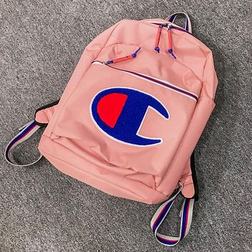 Champion Fashion New Embroidery Big Logo Women Men Backpack Bag Pink