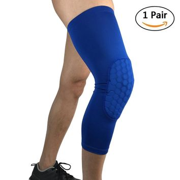 Compression Cycling Leg Warmers for Men Women Knee Warmers Sleeves Support (Blue 2 PCS, L)