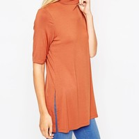 ASOS | ASOS Tunic With Side Splits And Turtleneck In Short Sleeves at ASOS