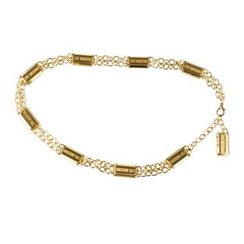 Moschino 1990s Redwall '28k Moschino' Gold Bar Chain Belt