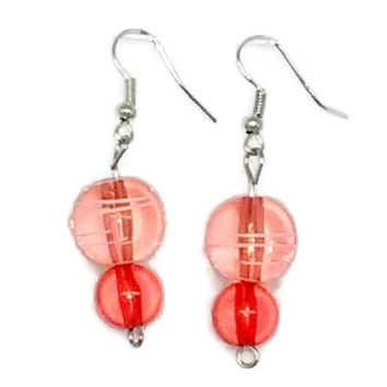 Pink Striped Round with Pink Round Beaded Earrings