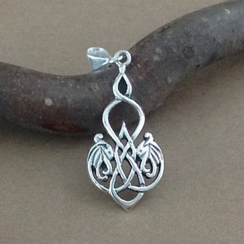 Dragon Necklace~Celtic Dragon Necklace~Sterling Silver Dragonheart Pendant~Celtic Dragonheart Symbolic Charm Necklace~Dragon Jewelry