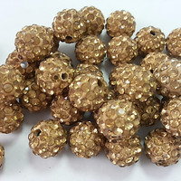 50  10mm   Gold color  Pave  Hematite Color  Rhinestone Shamballa Beads Disco Balls Beads  Shamballa Jewelry  Shamballa Bracelet