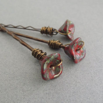 Roses are Red Glass Hair Pins Red Flower Bobby Pins Boho Hair Accessory Rustic Picasso Glass Poppies Bohemian Flower Garden Red Hair Pins