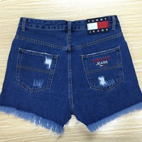 Fashion Online Tommy Jeans High Waist 90's Shorts With Stars & Stripes