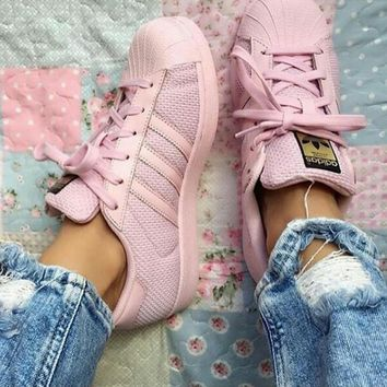 adidas Originals Superstar Pink Mesh Fashion Shell-toe Series Flats Sneakers Sport Shoes-1