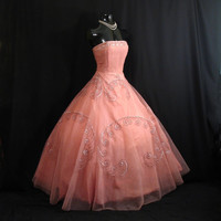 Vintage 1950's 50s STRAPLESS Pink Shelf Bust Beaded Sequins Pearls Tulle Party Prom Wedding Bridal Dress Gown