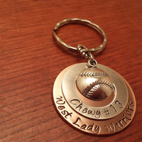 Hand stamped softball players key chain- sports keychain-high school sports gift-sports players gift