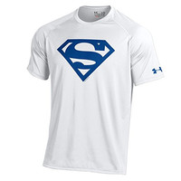 Under Armour Men's Alter Ego Superman NuTech Performance T-Shirt (Large, White-Blue Shield)