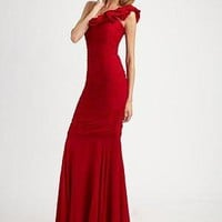 Teri Jon - One Shoulder Ruched Chiffon Dress - Saks.com