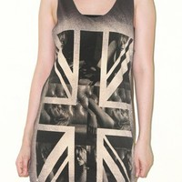 Kate Moss UK Flag Charcoal Black Tank Top Indie Rock Shirt Size S
