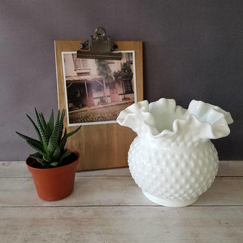 Fenton Hobnail Milk Glass Vase/ Fenton Hobnail Milk Glass Basket/ Milk Glass Bowl/ Double Ruffled Milk Glass/ Wedding Centerpiece/ Vase