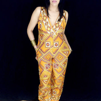 Vintage 60s Psychedelic Mod Mustard Silk Polyester Blend Geometric Flower Print Sleeveless Crossover High Waisted Palazzo Jumpsuit M // S