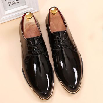 glossy dress shoes white flat wedding shoes patent leather loafers mens shoes luxury brand italian brand oxfords shoes for men
