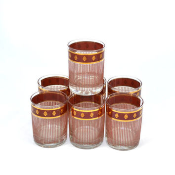 Glasses Low Ball Glasses Pineapple Glasses Georges Briard Glassware Mid Century Cocktail Glasses Set of 7 Glasses Brown and Gold