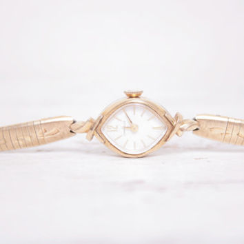 Beautiful Delicate Gold and Stainless Steel Art Deco Antique Watch with Clasp