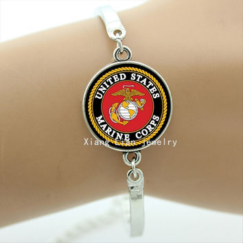 US Marine Corps Bracelet Jewelry Accessory Military Bracelet Fashion Jewelry Round Glass Charms