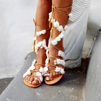 Elf wedding Bridal sandals, White flower Beach Wedding Sandals,  Greek Sandal,  Genuine leather shoes, Summer shoes