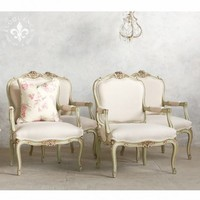 Finely Shaped Vintage Louis XV Armchairs in a Fresh Mint Finish