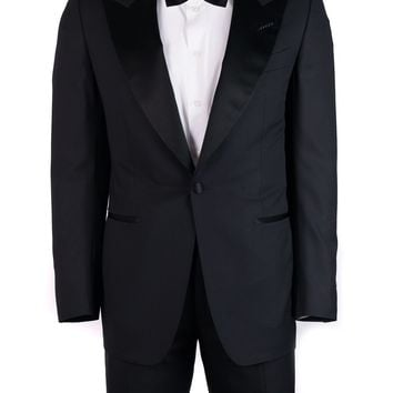 Tom Ford Mens Black Wool Satin Trim Windsor 2 Piece Suit