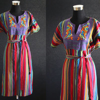 Vintage 70s Med Large Multi color Mexican Dress Abstract embroidered dress hippie tent dress Boho Dress Hippie Dress festival dress