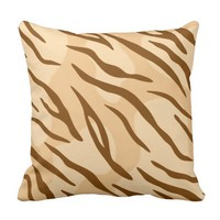 Beige Brown Tiger Skin Pattern Throw Pillow