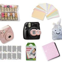 Fujifilm Instant Instax Mini 8 Polaroid Camera Bundle Set Fuji Mini 8 PU Leather Case /Fuji Mini Pouch / 10 Sheets Instax Mini Films / Fujifilm Instax Mini Film Comic / Swarovski Crystal MIni Book Photo Album / Close-Up Lens / Decal Sticker /Wooden Photo C