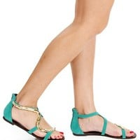 Turquoise Gold Snake Chain Sandals