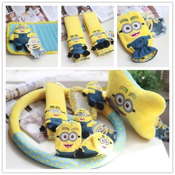 Minions Car Interior Decoration Accessories Short Plush Cartoon Steering Wheel Cover Car Seat Belt Covers Car Neck Pillow Set