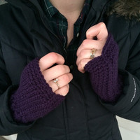 Crochet Fingerless Mitts, Purple, 50% Cancer Donation