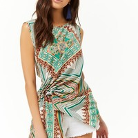 Asymmetrical Gathered Ornate Sleeveless Top
