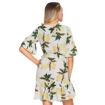 Fruit Print Pattern Ruffle Hem Chiffon Dress