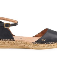 Conca Leather Espadrilles - Black