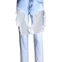 Light Blue Frayed Denim Trousers