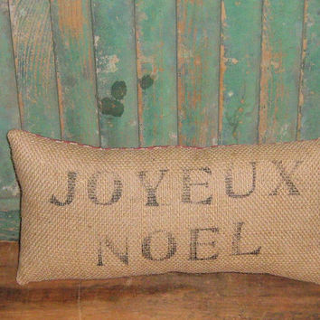 Burlap Christmas Pillow, Joyeux Noel, Country French, Rustic Pillow, Shabby Pillow, Holiday Decor, Home Gift