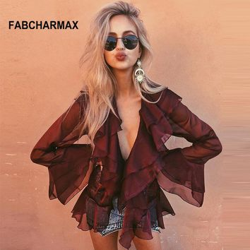 Sexy burgundy ruffles chiffon blouse women summer long butterfly sleeve front tie shirt v neck chic womens tops and blouses 2018