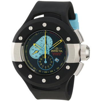 Invicta 11133 Men's S1 Rally Puppy Blue Accent Black Dial Black Rubber Strap Stainless Steel Chronograph Watch
