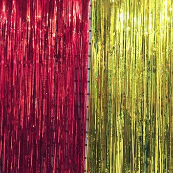 Metallic Foil, Tinsel Fringe Curtain, Party Decoration, Stage Backdrop, Background Photo Props