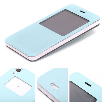 Funda Original View Flip Leather Case with Open Window Battery Door Housing Back Cover for doogee dg800 Cell Phone Cases