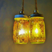 Moroccan Inspired Mason Jar Duo Pendant Light, Lime Green Glass with Copper Accents
