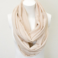 Ivory Jersey Knit Infinity Scarf Every Occasion Wear Double Loop Scarf Simple and Chic An Absolute Must for Fall