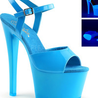 Neon Blue Ankle Strap Sandle With 7 Inch Heels-Rave Shoes