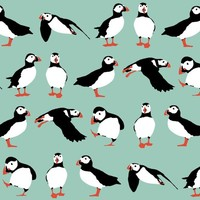 just puffins aqua - scrummy - Spoonflower