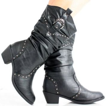 West Blvd Womens MOSCOW COWBOY Boots Cowgirl Western Roper Studded Slouch Shoes, Black Pu, US 10