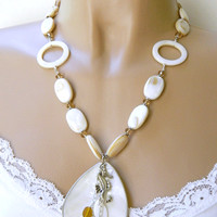 Mother-of-pearl Pendant Necklace with Swarovski Crystal Accent
