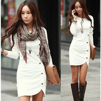 2015 Ladies Elegant Winter Long Sleeve Buttons Slim Hip Casual Autumn Dress Bodycon Dresses Women Work Wear OL Dress Vestidos = 1930002756