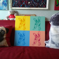 French Bulldog painting on canvas,stencil art,pop art,dogs,spray can art,puppies,dog owners,kids room,bedroom,home,spray paints,animals,graf
