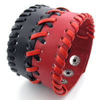Weaved Black and Red Leather Bracelet
