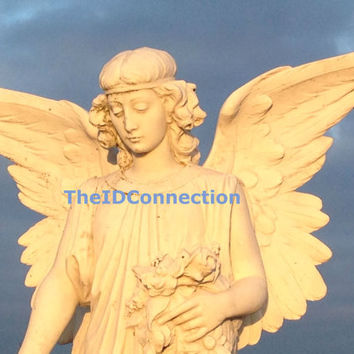 Digital Photograph, Angel on High, Heaven, Angelic, Galveston Episcopal Cemetery Tomb Stone, Photograph by TheIDConnection